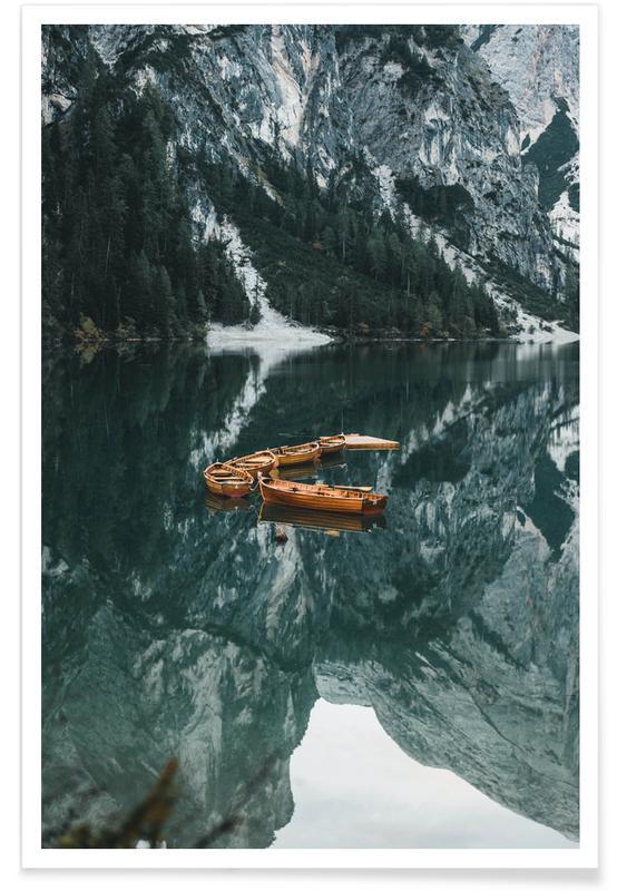 Montagnes, Bateaux, Océans, mers & lacs, Orange Fleet by @DaniKla affiche