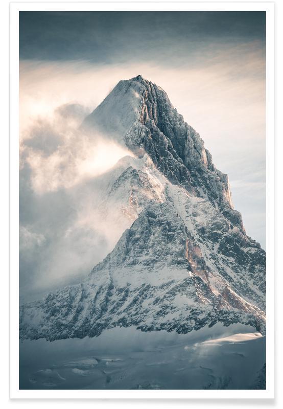 Montagnes, Photographie de montagne enneigée affiche
