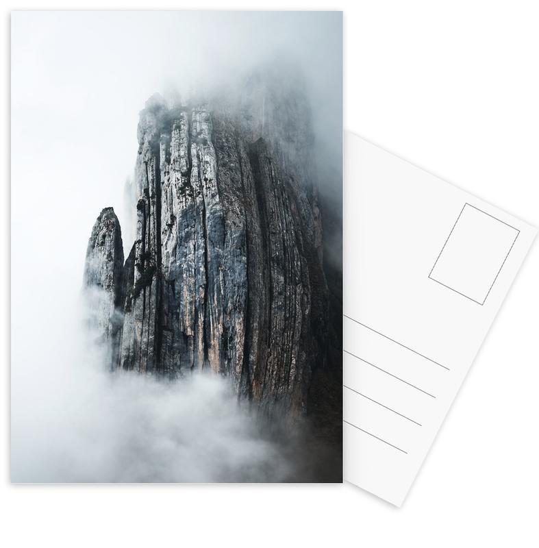 Mountains, Skiing & Snowboarding, Through the Fog by @noberson Postcard Set