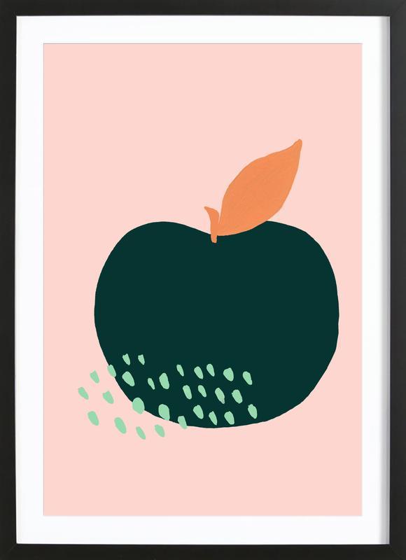 Joyful Fruits - Apple affiche sous cadre en bois