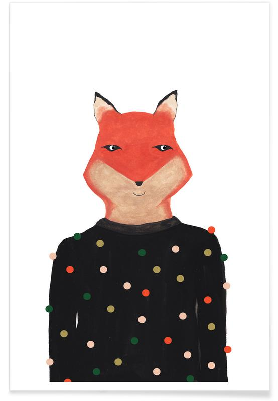 Foxes, Nursery & Art for Kids, Fox with Sweater Poster