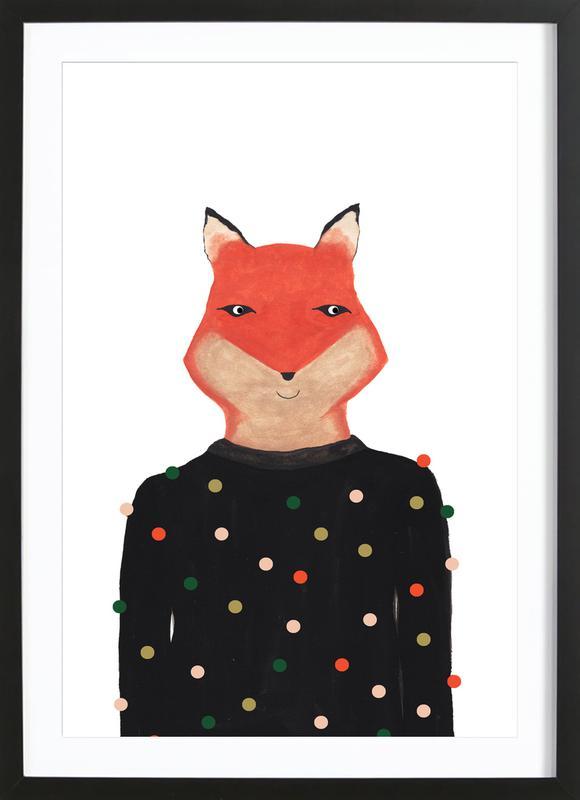 Fox with Sweater affiche sous cadre en bois