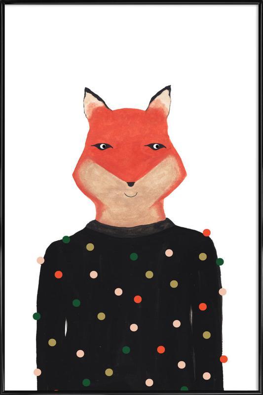 Fox with Sweater affiche encadrée