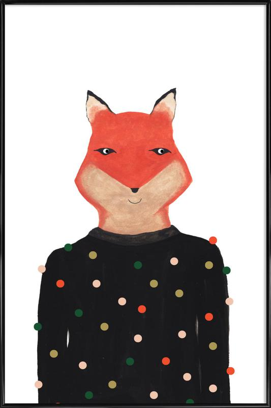 Fox with Sweater Framed Poster