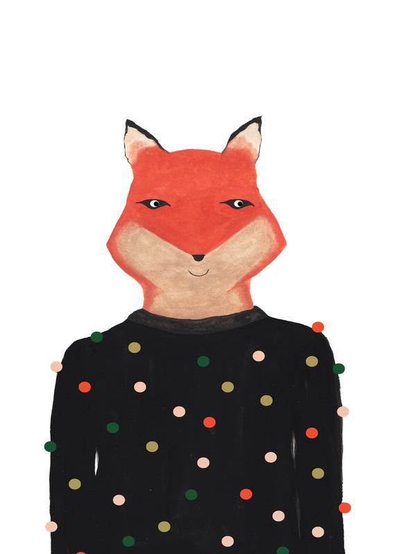 Fox with Sweater Canvas Print