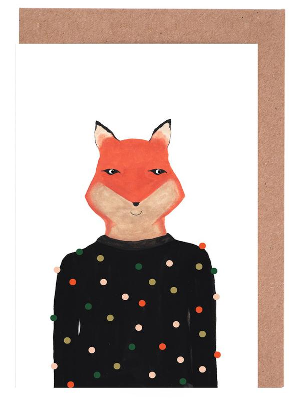 Fox with Sweater cartes de vœux