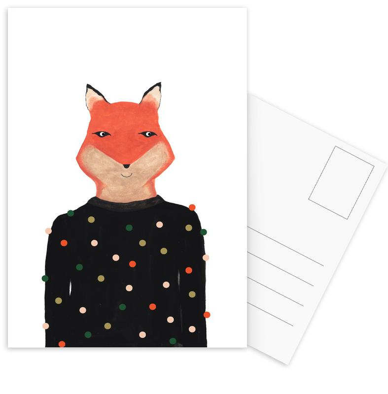 Fox with Sweater -Postkartenset