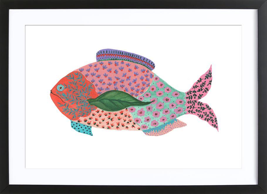 Fancy Fish affiche sous cadre en bois