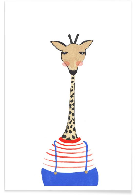 Girafes, Art pour enfants, Giraffe with Clothes affiche