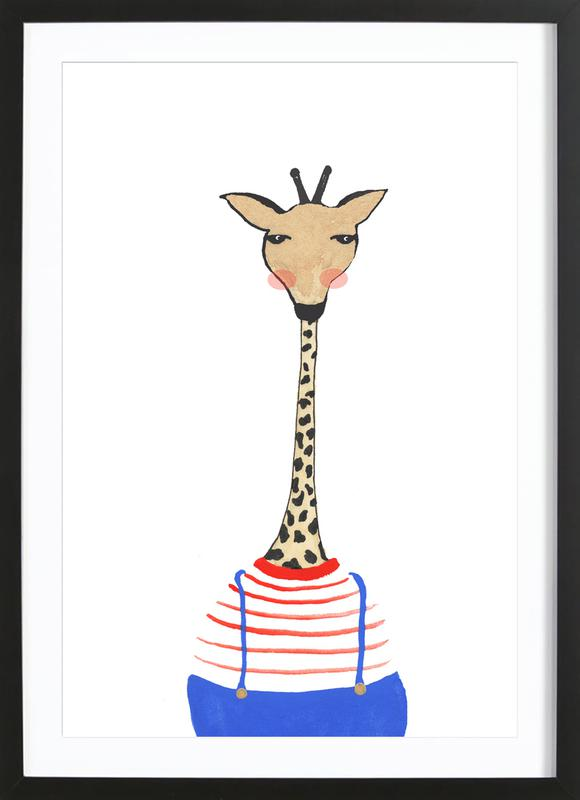 Giraffe with Clothes Framed Print