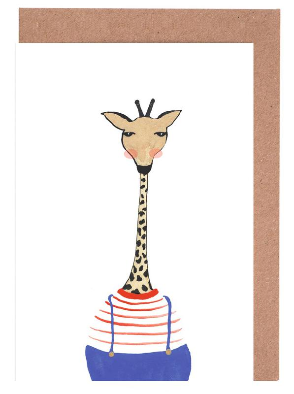Giraffe with Clothes Greeting Card Set