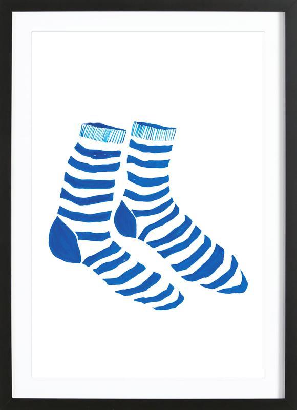 Striped Socks affiche sous cadre en bois