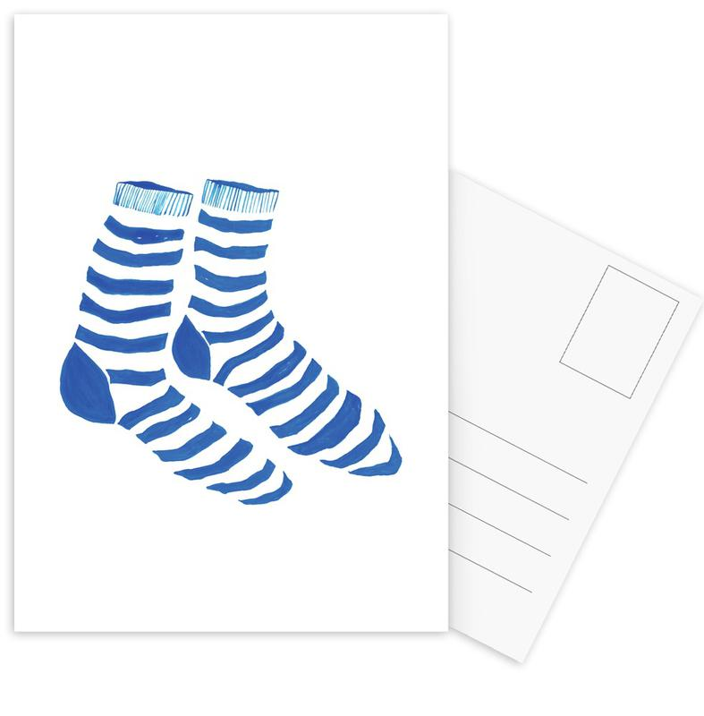 Striped Socks -Postkartenset