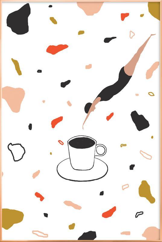 Coffee Lady -Poster im Alurahmen