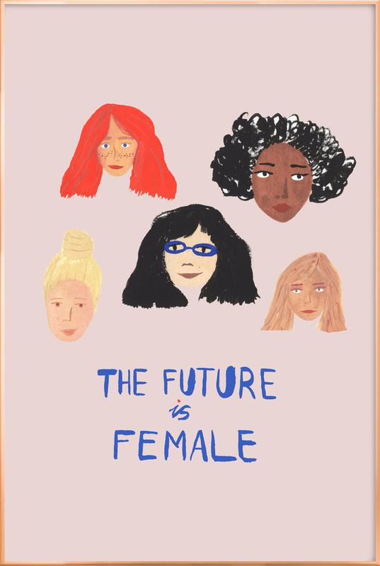 The Future is Female affiche sous cadre en aluminium