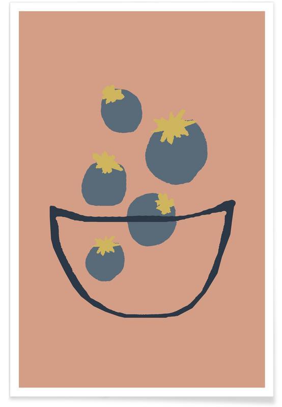 Baies, Joyful Fruits - Blueberries affiche