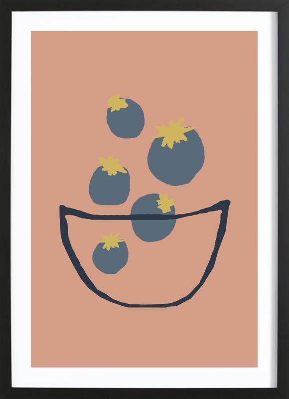 Joyful Fruits - Blueberries affiche sous cadre en bois
