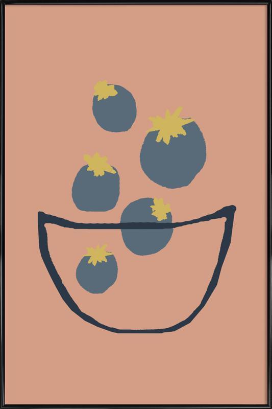 Joyful Fruits - Blueberries Framed Poster