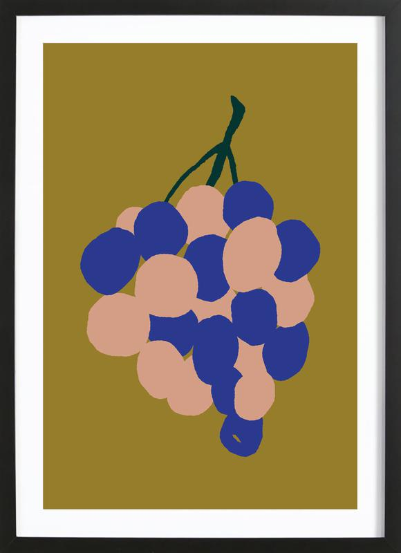 Joyful Fruits - Grapes -Bild mit Holzrahmen