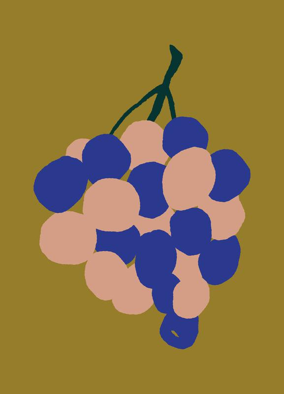 Joyful Fruits - Grapes -Leinwandbild