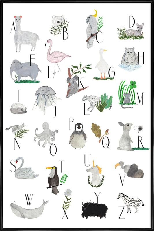 Animals with Letters Framed Poster