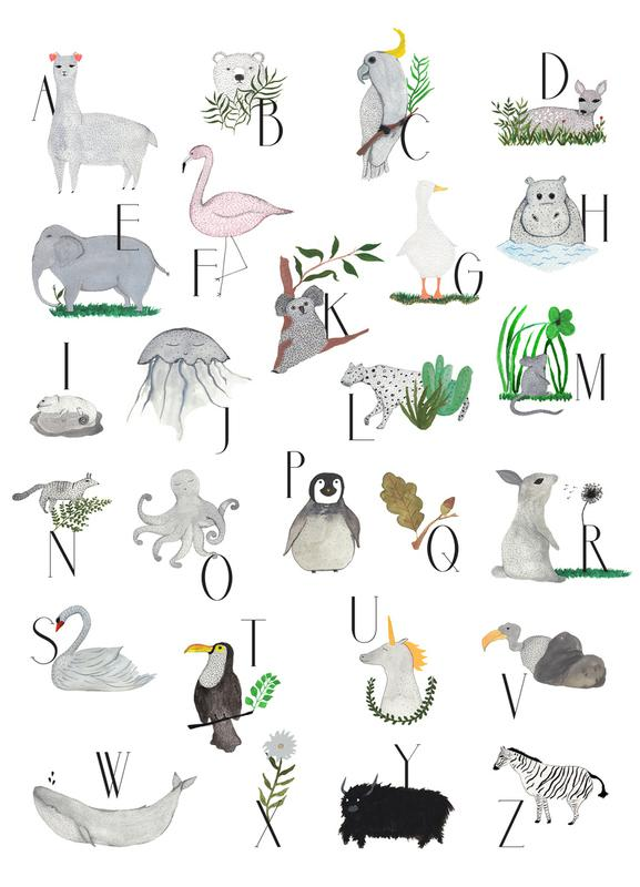 Animals with Letters Canvas Print