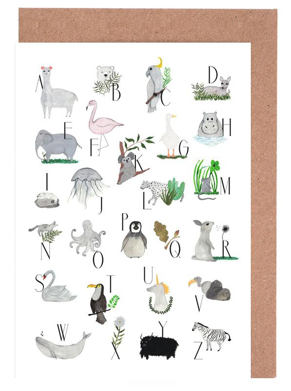 Animals with Letters Greeting Card Set