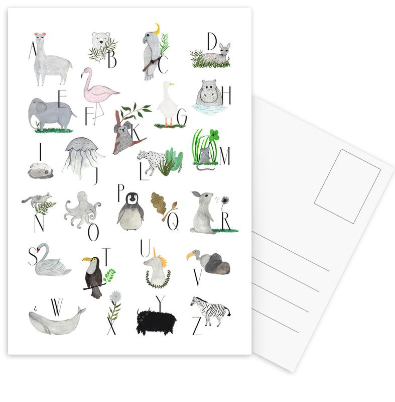 Animals with Letters Postcard Set