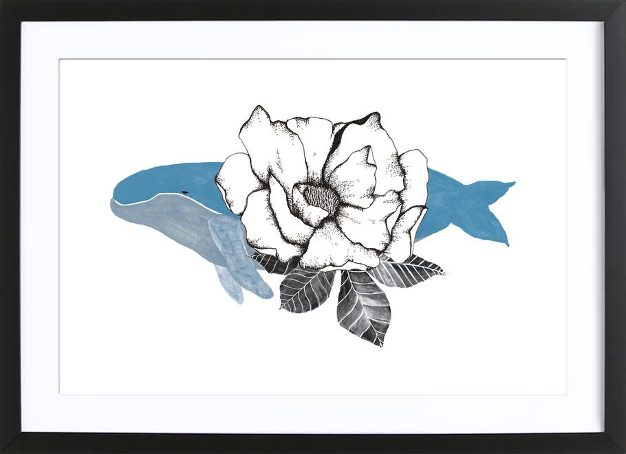 Floral Whale affiche sous cadre en bois