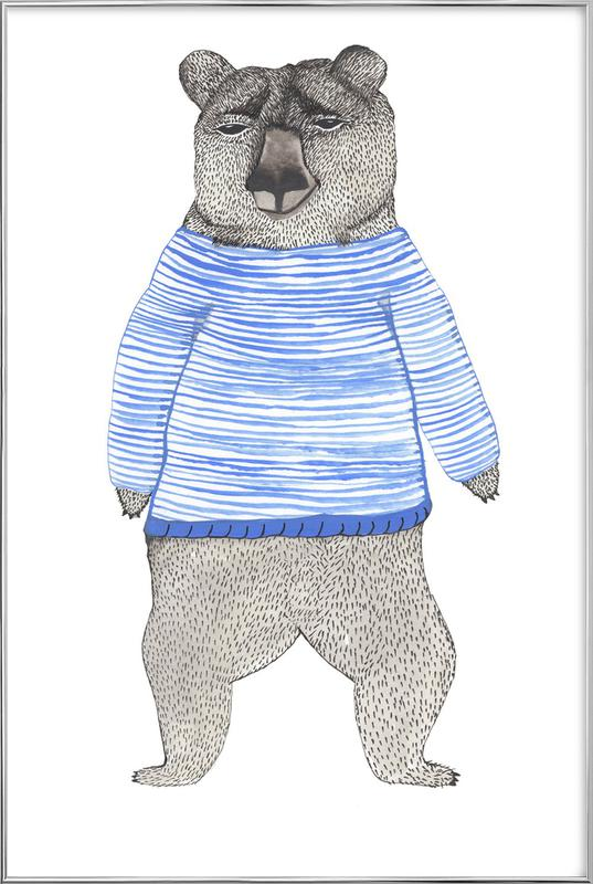 Bear with Stripes affiche sous cadre en aluminium