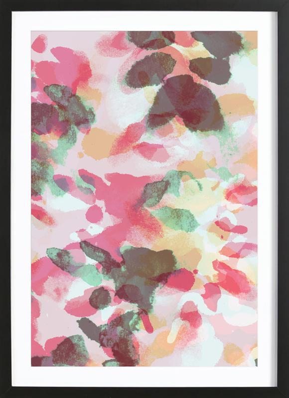 Floral Aquaellic -Bild mit Holzrahmen