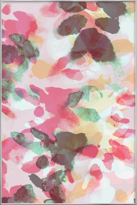 Floral Aquaellic affiche sous cadre en aluminium