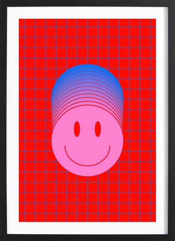 Smiley 1 affiche sous cadre en bois