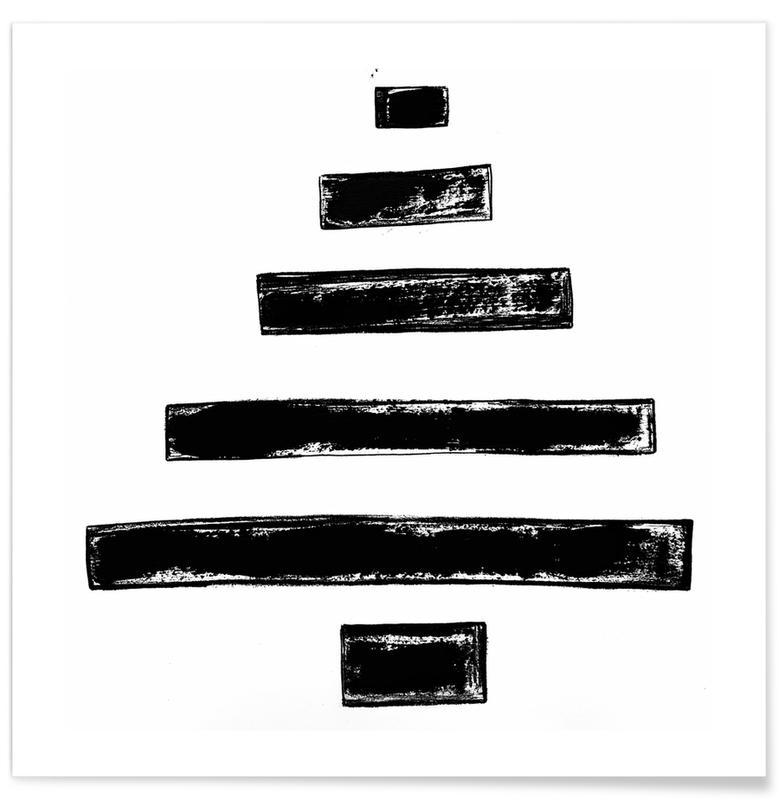 Noël, Noir & blanc, Christmas Tree affiche