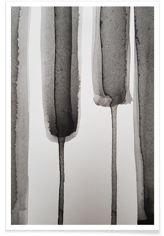 Noir & blanc, Brushstroke 1 affiche
