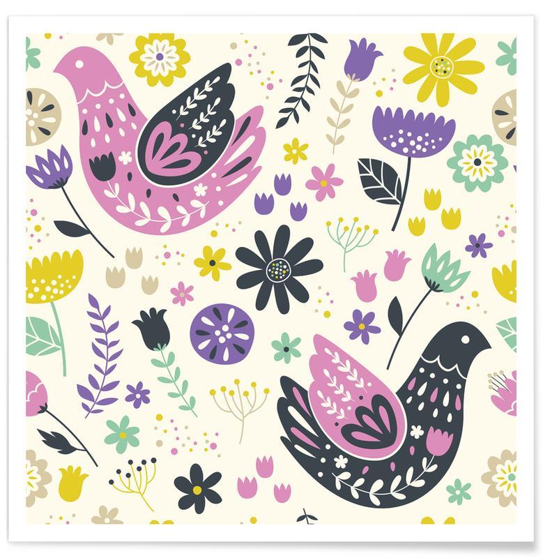 Nursery & Art for Kids, Patterns, Scandinavian Birds Pattern Poster