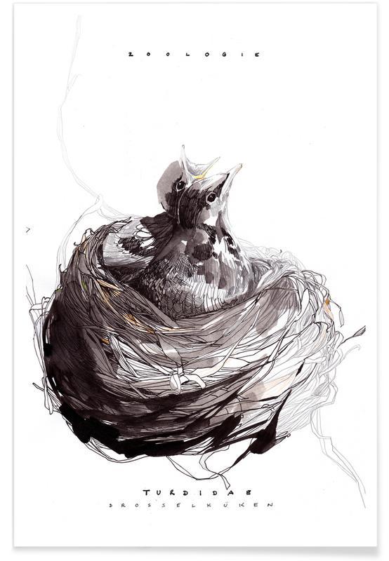 Vogelnest - aquarel poster