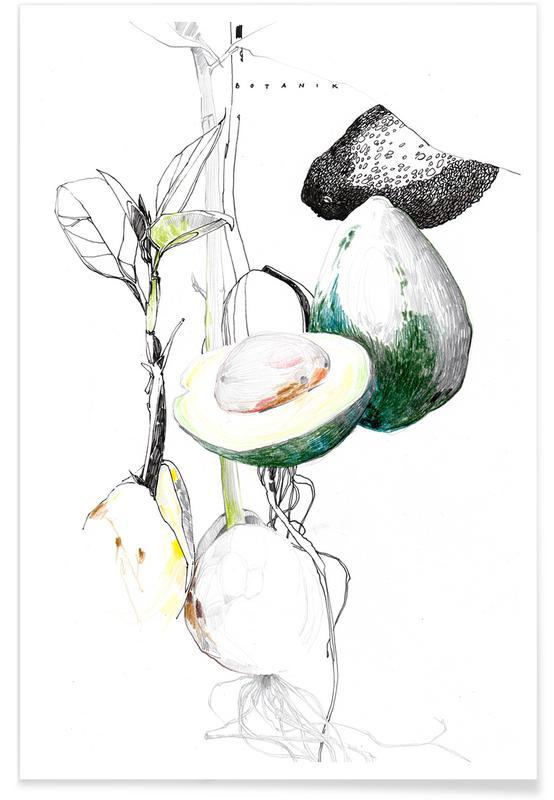 Avocados, Nursery & Art for Kids, Avocado Watercolour Poster
