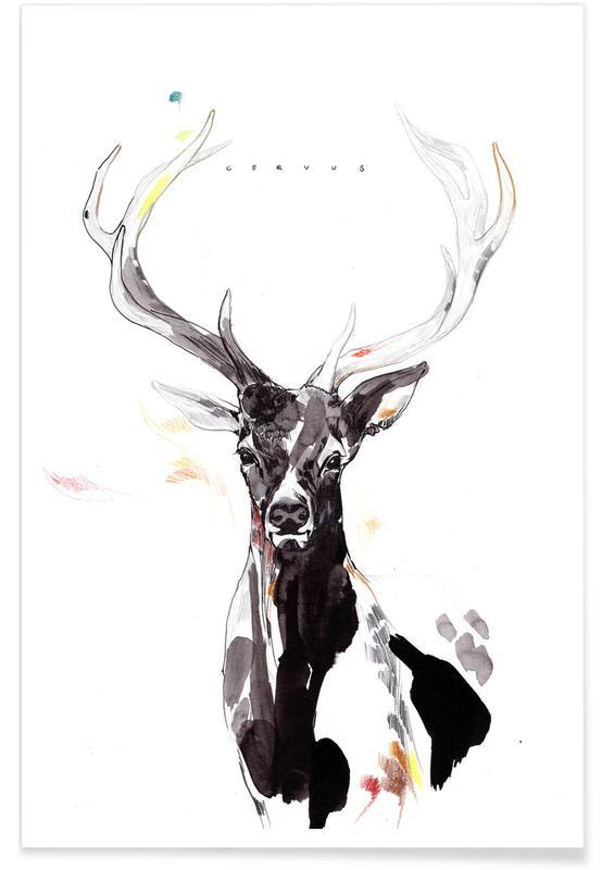 Deer, Nursery & Art for Kids, Deer Watercolour Portrait Poster
