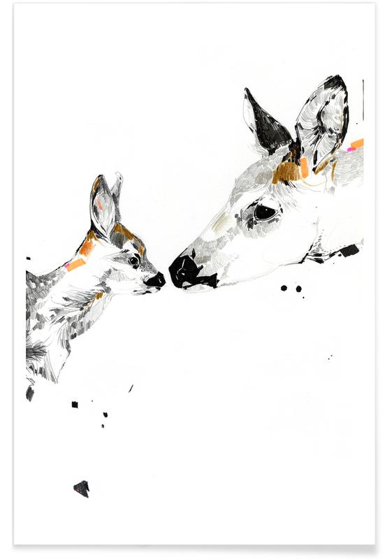 Deers Kiss Watercolour Poster