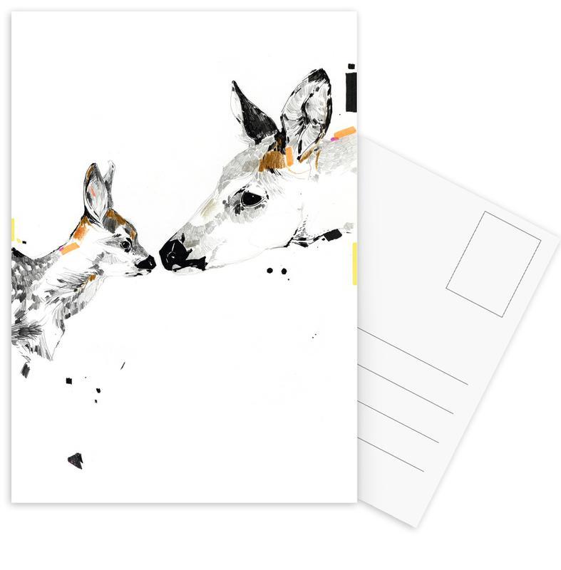 Cerfs, Art pour enfants, Deers cartes postales