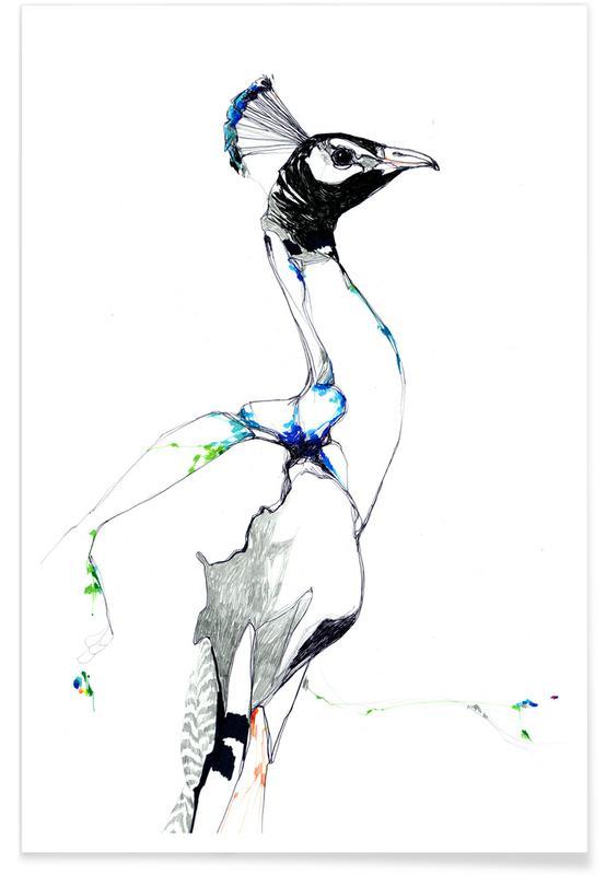 Påfugle, Børneværelse & kunst for børn, Peacock Watercolour Plakat