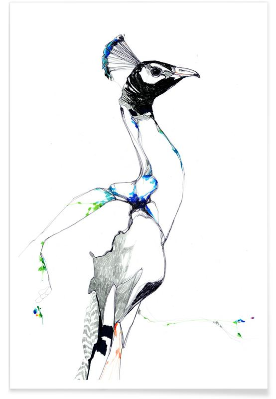 Peacock Watercolour Poster