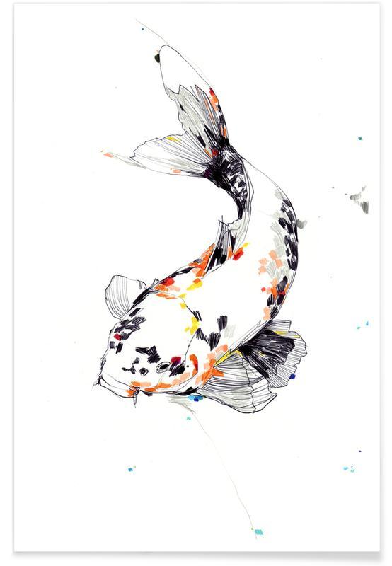 Koi Fish Watercolour Poster