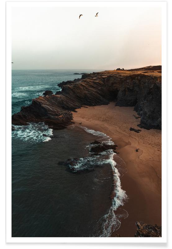 Océans, mers & lacs, Plages, Portuguese Beach Coast with Birds affiche