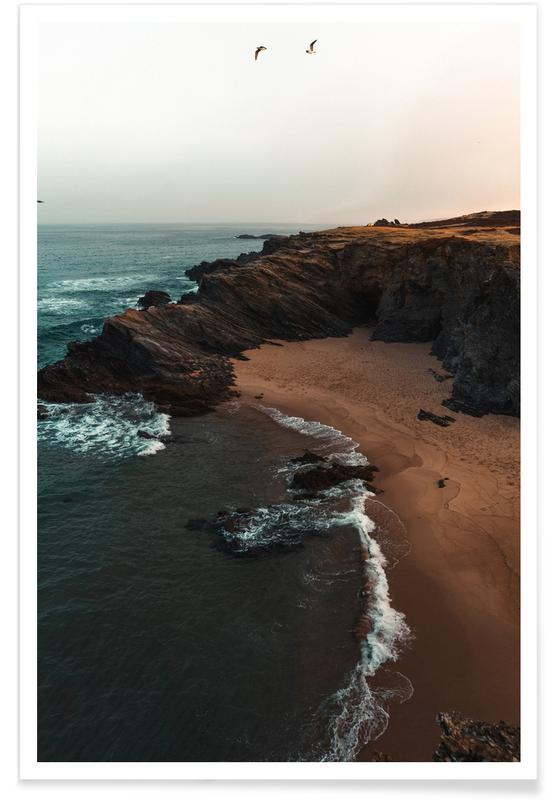 Ozeane, Meere & Seen, Strände, Portuguese Beach Coast with Birds -Poster