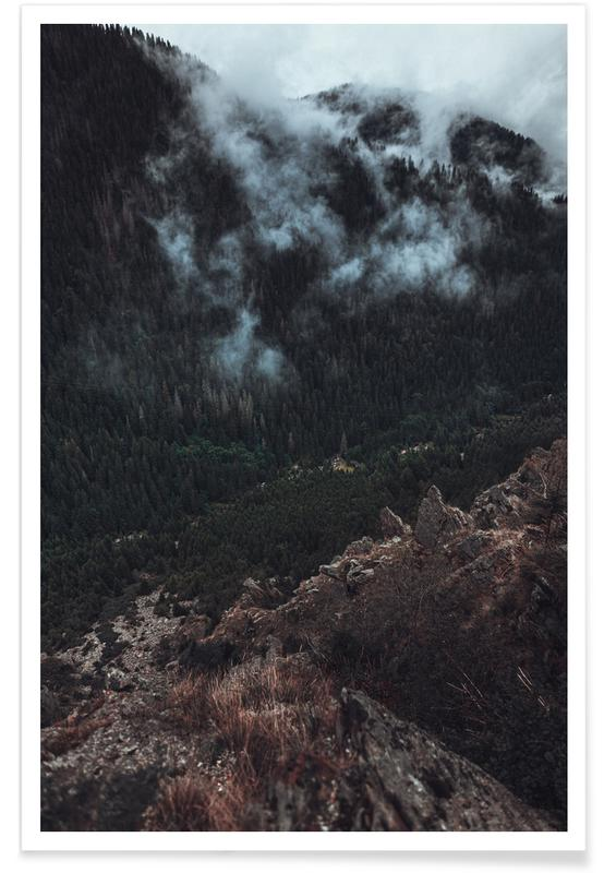 Trees and Clouds Poster