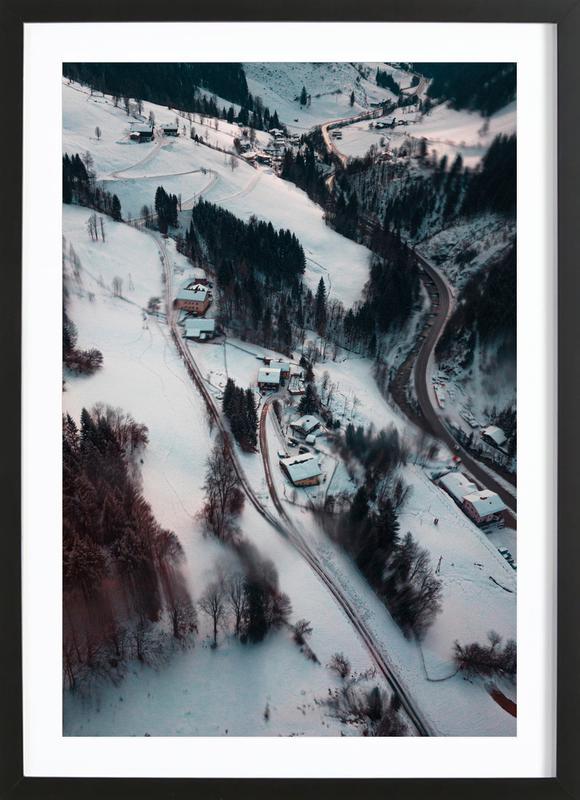 Austrian Winter Wonderland affiche sous cadre en bois