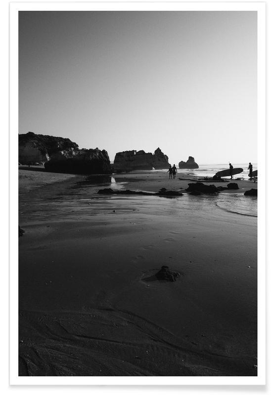 Stranden, Zwart en wit, Surfen, Let's Go Surfing poster