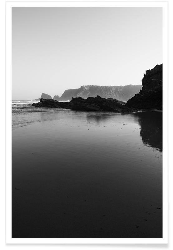 Ozeane, Meere & Seen, Strände, Schwarz & Weiß, Black And White Beach -Poster